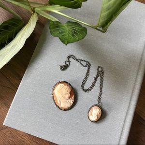 Antique Cameo - Brooch & Necklace Set